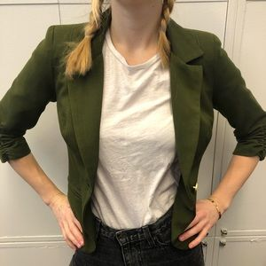 Olive Green Ruched Blazer - Small